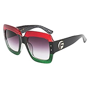 ROYAL GIRL Oversized Square Sunglasses For Women Multi Tinted Frame Brand Designer Fashion Shades (C5, 70)