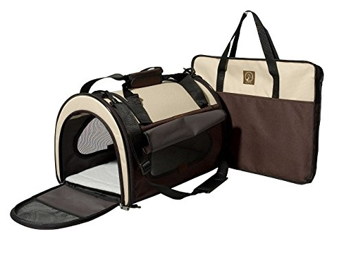 One for Pets Folding Pet Carrier, The Dome, Small, Cream Brown