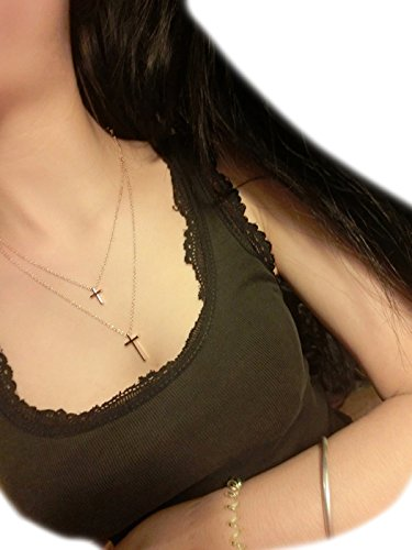 Jovono Womens Gold Necklace Jewelry Cross pendant Multi - Layer Chain For Women and Girl