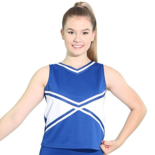 Danzcue Womens 2-Color Kick Sweetheart Cheerleaders Uniform Shell Top, Royal-White, Large