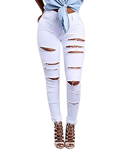 Alta Donna Fit Leggings Slim Vita Jeans Bianco Pantaloni Matita Strappato Pants Denim wq0w1rS