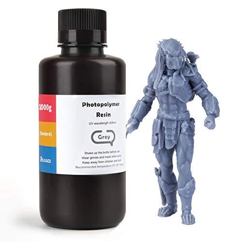 ELEGOO 3D Rapid Resin LCD UV-Curing Resin 405nm Standard Photopolymer Resin for LCD 3D Printing 1000Gram Grey