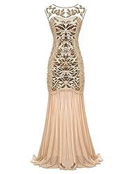 Floor-Length V-Back Sequined Embellished Gown