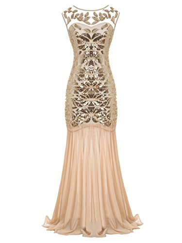 - FAIRY COUPLE Women's Maxi Long 1920s Gatsby Dresses Sequined Embellished Prom Evening Dress S Gold Champagne