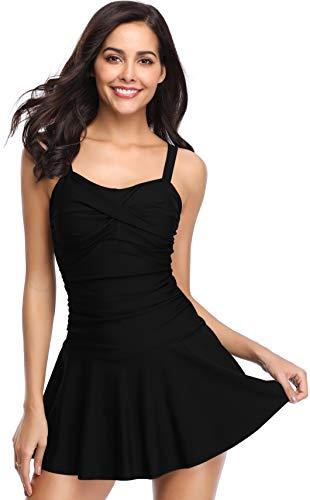 (SHEKINI Women's Crossover Ruched Skirt One Piece Swimdress Swimsuit Bathing Suit (Manhattan Black, Medium))