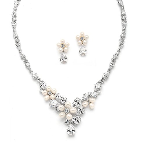 (Mariell Cultured Freshwater Pearls & CZ Wedding Necklace and Earrings Set for Brides - Rhodium Plated)