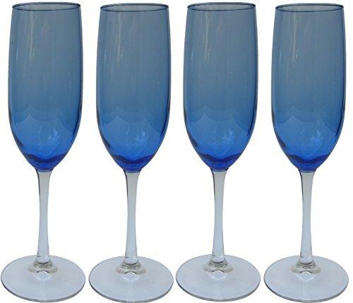 Cobalt Blue Champagne - Cobalt/ Royal Blue Tinted Clear Stem Two-tone Champagne Flutes Glasses, 8oz - Set of 4