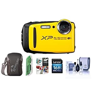Fujifilm FinePix XP120 16.4MP Digital Camera, 5x Optical Zoom, Yellow - Bundle With 16GB SDHC Card, Camera Case, Cleaning Kit, Card Reader, Pc Software Package