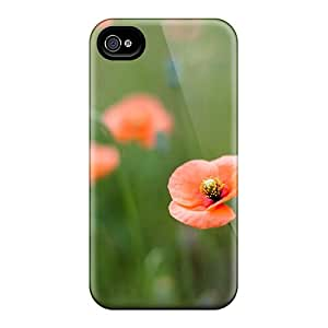 High Grade Garshop Flexible Tpu Case For Iphone 4/4s - Not Alone Orange Flowers