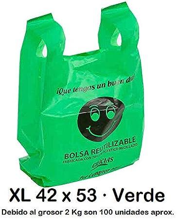 Bolsas de Plástico Tipo Camiseta Resistentes, Reutilizables y Recicladas | Galga 200 | Tamaño XL 42x53 cm | 2 Kg - 100 uds Aprox. | 70% Recicladas | Cumple Normativa | Aptas Uso Alimentario | Verdes