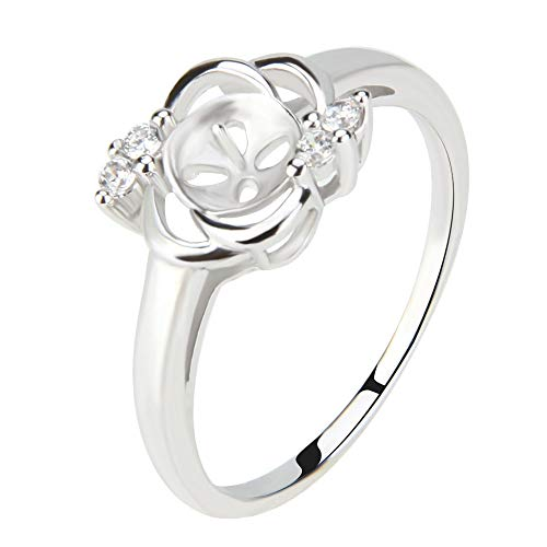 NY Jewelry 925 Sterling Silver CZ Rhinestones Flower Rings for Pearl, Pearl Ring Fittings/Accessories/Mountings for Women Pearl Jewelry Making in Size 6/7/8/9/10 (Pearl Ring Mount)