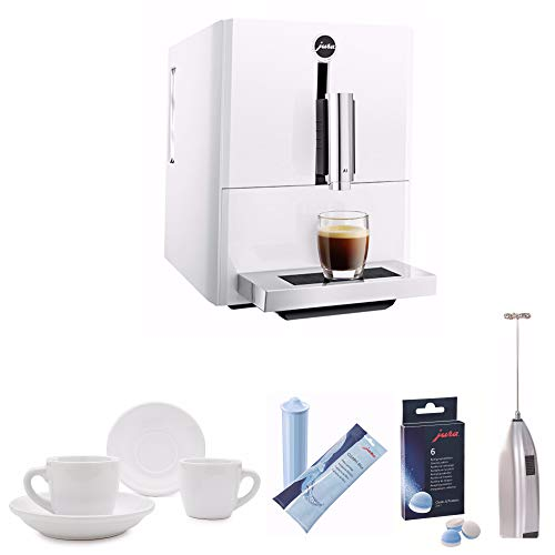 Jura A1 Ultra Compact Coffee Center with P.E.P. (White) Includes Jura Cleaning Tablets, Jura CLEARYL Blue Water Filter Cartridge, Handheld Milk Frother and Set of Two Cups and Saucers