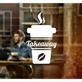 Coffee Takeaway Cup Window Sign Vinyl Sticker Graphics Cafe Shop Salon Bar Restaurant by Wall4stickers