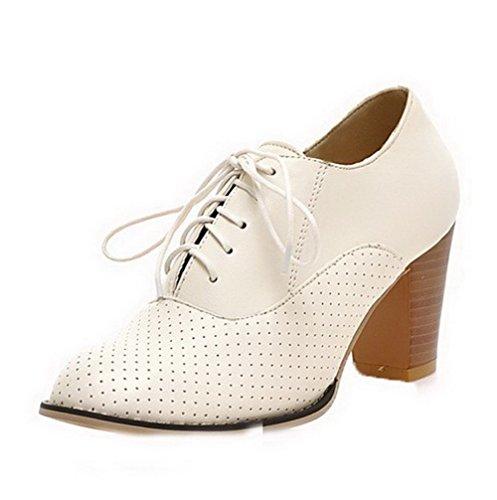Amoonyfashion Donna Tacco Alto Pu Lace-up Chiuso Punta Rotonda Pompe-scarpe Bianche
