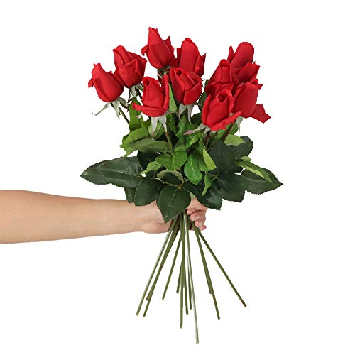 (N YONGNUO 12pcs Latex Moisturizing Roses of Real Touch Natural Artificial Flowers Red Bud Roses Realistic Color for Wedding/Home Decor or As a Gift to Wife/Mother/Friend(19 Inch-Red))