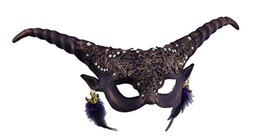 Spiral Horned Decorated Half Face Demon Goat Mask Purple -