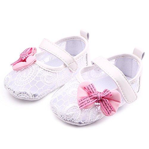 Zapatos de bebé Zapatos encaje para niña Diseño princesa Suela antideslizante Tamaño para 0-12 meses Luerme Blanco