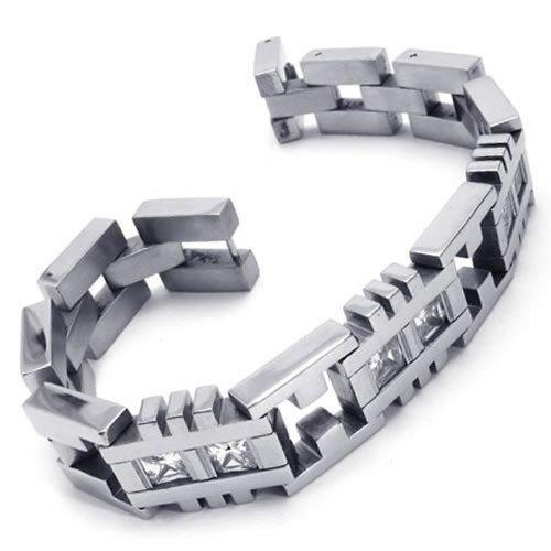 KONOV Stainless Zirconia Bangle Bracelet