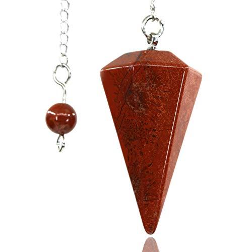 Amandastone Natural Red Jasper Gemstone 12 Facet Crystal Hexagonal Pointed Reiki Chakra Pendant Pendulum