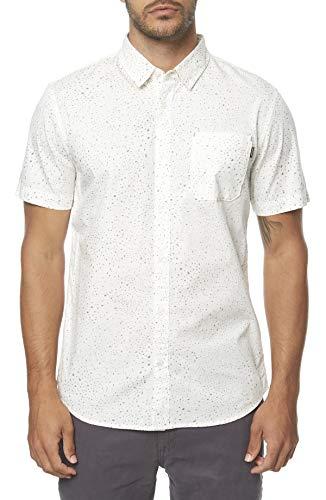 - O'Neill Men's Casual Modern Fit Short Sleeve Woven Button Down Shirt, White/Galaxsea XL