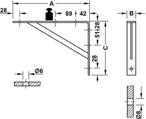 Blanco Consola de carga pesada Soporte de carga pesada soporte de estante SPARTA 3 TAMA/ÑOS 2 Colores STEG soldado con aut/ógena Soporte estanter/ía Angular estanter/ía Capacidad carga 200-300 kg 500 x 330 x 30 mm