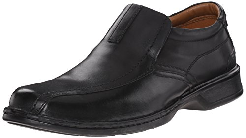 Clarks Men's Escalade Step Slip-on Loafer- Black Leather 10 D(M) - Leather Loafers Shoes Dress