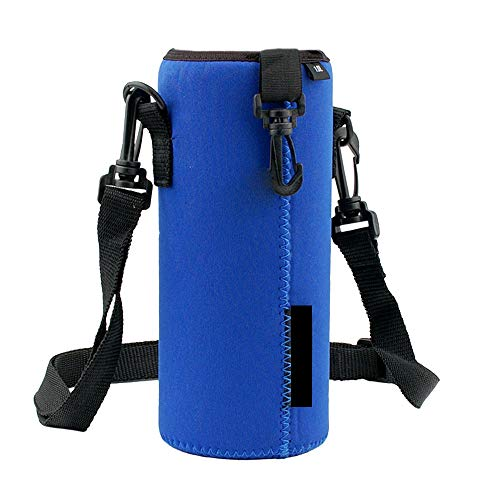 Amaping 1000ML Water Bottle Carrier Portable Shockproof Cover Bag Holder Strap Pouch Outdoor Sports (Blue)