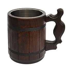 Handmade Beer Mug Oak Wood Stainless Steel Cup Carved Natural Beer Stein Ol...