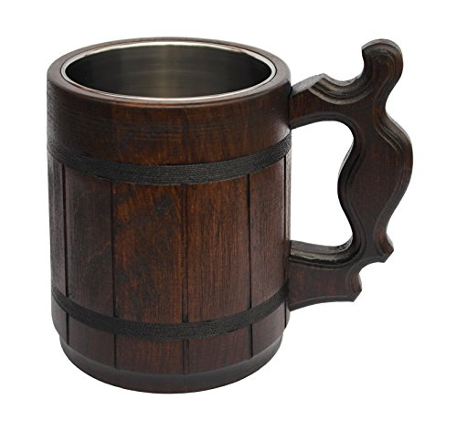 (Handmade Beer Mug Oak Wood Stainless Steel Cup Carved Natural Beer Stein Old-Fashioned Brown - Wood Carving Beer Mug of Wood Great Beer Gift Ideas Wooden Beer Tankard for Men Capacity: 20oz (600ml))