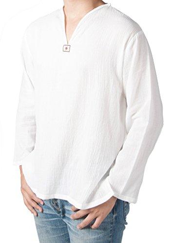 Lofbaz Men's V-Neck T-Shirt 100% Cotton Thai Hippie Shirt Yoga Top White Size S