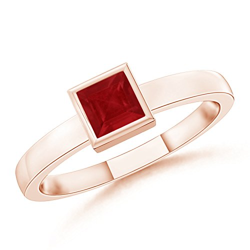 July Birthstone - Bezel-Set Solitaire Square Natural Ruby Stackable Ring for Women in 14K