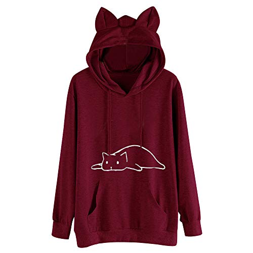 iYBUIA Womens Cat Ear Print Solid Long Sleeve Hoodie Sweatshirt Hooded Pullover Tops Blouse