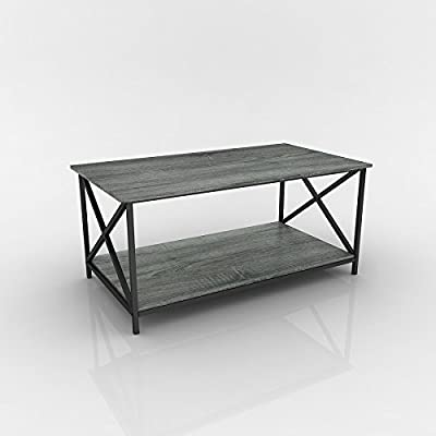 eHomeProducts Weathered Grey Oak Finish Metal X-Design Wooden Cocktail Coffee Table Shelf - Finish: Weathered Grey Oak and Black Materials: Wood Veneer, Metal, MDF X-Design on sides - living-room-furniture, living-room, coffee-tables - 41vNr1oN1rL. SS400  -