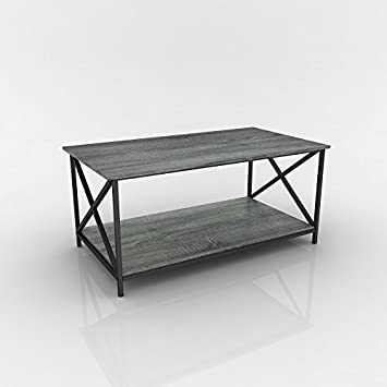 Weathered Grey Oak Finish Metal X Design Wooden Cocktail Coffee Table Shelf