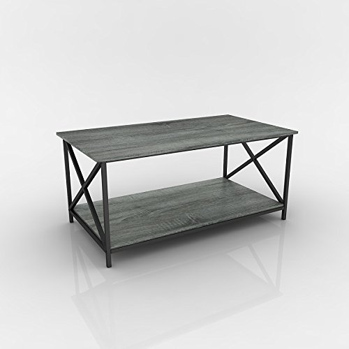 Weathered Grey Oak Finish Metal X-Design Wooden Cocktail - Table Oak Finish
