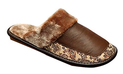 Cattior Hombres Leather Fur Forrada Con Zapatillas De Baño House Slippers Marrón