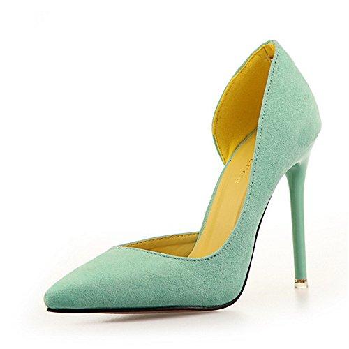 Manyis Moda Donna Lady Scarpe Nuove Stiletto Scarpe A Punta Basse Tacco Alto Scarpe Colore Verde, Taglia: Us4