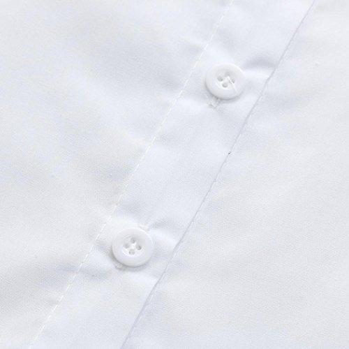 Col Fille Nu Femme Blouse Chemisier Shirt Fluide Veste Chic Dos Blanc Une Avec Poche V Angelof qwxH8BnIw