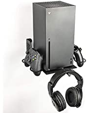 XBOX-Series X Vertikalt Väggfäste, 2 Kuddhållare + 1 Spelhörlurshållare, Pulverlackerat Järn Vertikalt Väggfäste, Borangame, Svart