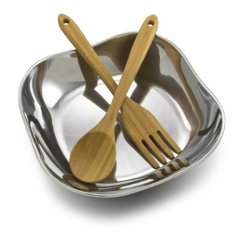 - Wilton Armetale Boston 3-Piece Salad Bowl Set with Bamboo Servers, Square, 10-3/4-Inch