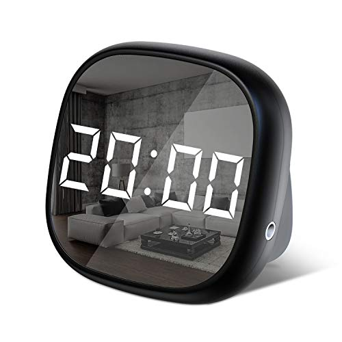 SYIHLON LED Digital Alarm Clock,Small Simple Travel Alarm Clock with Dimmable,Battery Operated Desk Alarm Clock with Sound Control ,Smart Dual Alarm Clock for Bedroom Kids' Room Office Bedside Travel