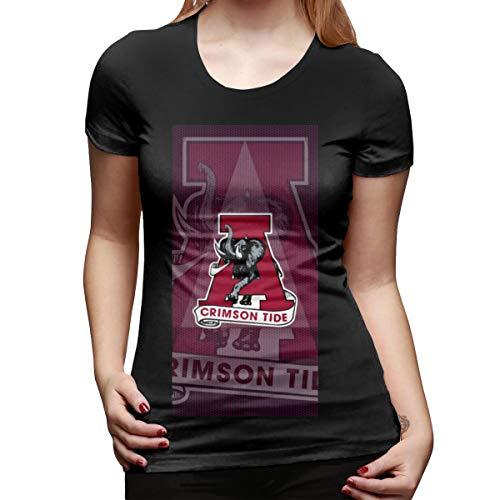 - NINGFEI Women's Alabama-Elephant Crimson Tide Short Sleeve T Shirts Black S