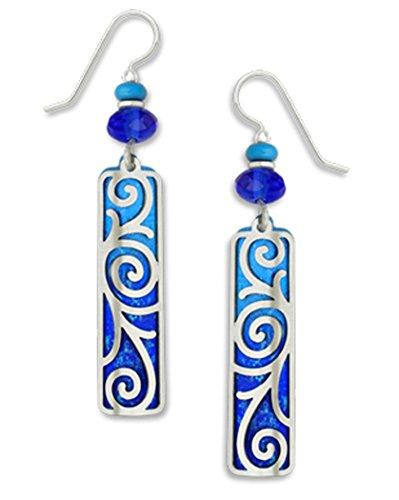 Adajio By Sienna Sky 7277 Blue Silver-tone Swirled Overlay Column Earrings