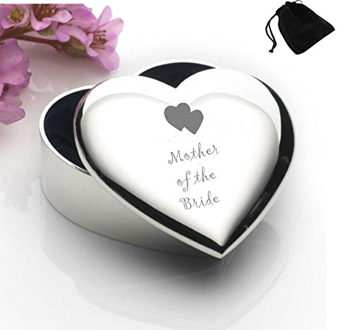 Silver Plated Heart Shaped Trinket Box With Mother of the Bride Hearts Design and Black Gift Pouch ()