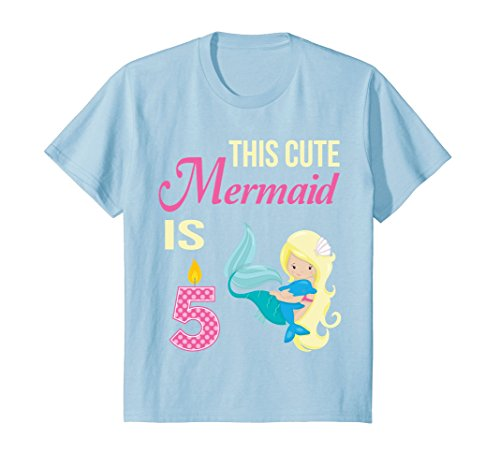 Price comparison product image Kids Mermaid Birthday Shirt 5 Year Old 5th Birthday Party Girls 6 Baby Blue