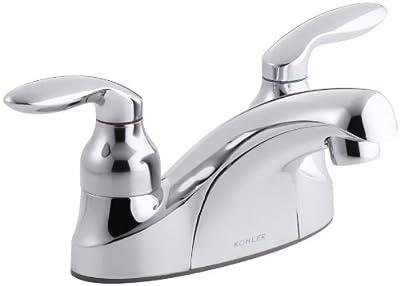 KOHLER K-15240-4-CP Coralais Centerset Lavatory Faucet, Polished Chrome