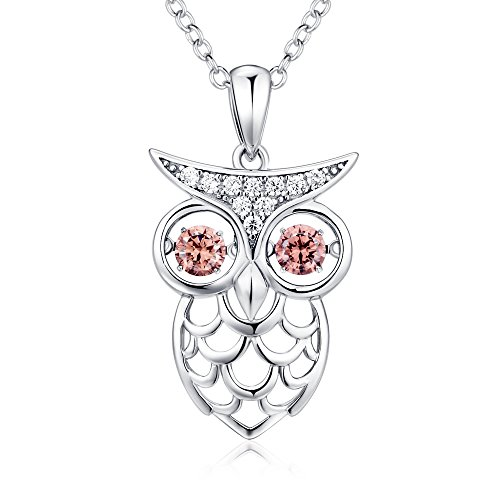 Owl Necklace,925 Sterling Silver and Dancing Diamond Owl Necklace Pendant,Women Fashion Owl Necklace,Cute Dancing Owl Necklace,CZ Owl Pendant Chain for Women,18 Chain