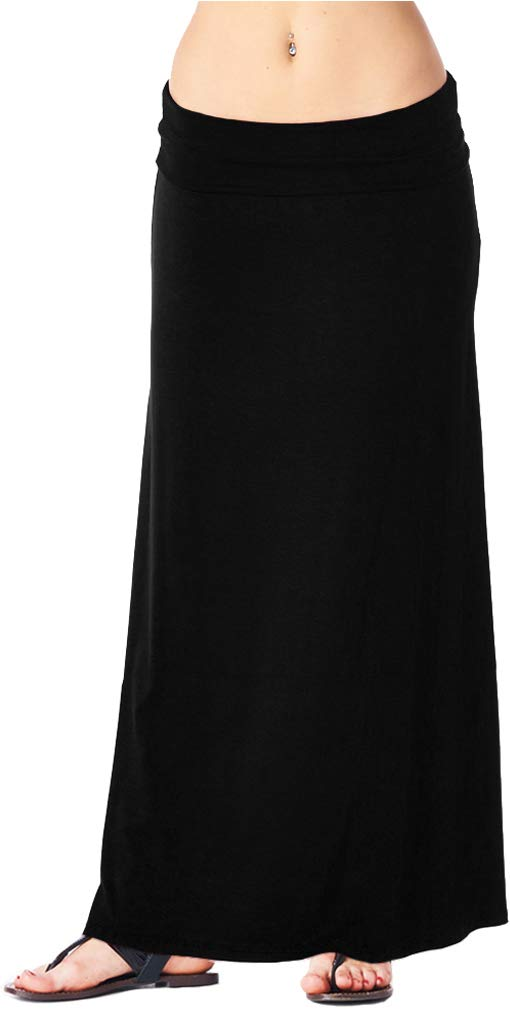 Popana Womens Casual Long Convertible Maxi Skirt Plus Size - Made In USA Black Medium