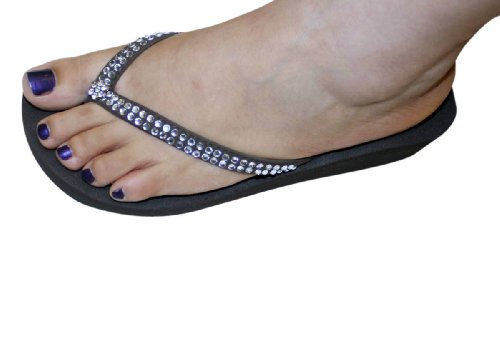 Brown Flops Style Flats clear Flat Sandals Sandal Thongs Womens Beach Flip Rhinestone 4qSAwPxw