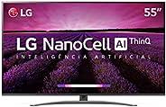 "Smart TV LG 55"" 55SM8100PSA 4K HDR Ativo NanoCell Inteligência Artificial ThinQ AI Som DTS Virt"
